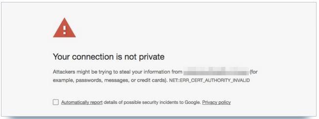 avertissement connexion non sécurisée