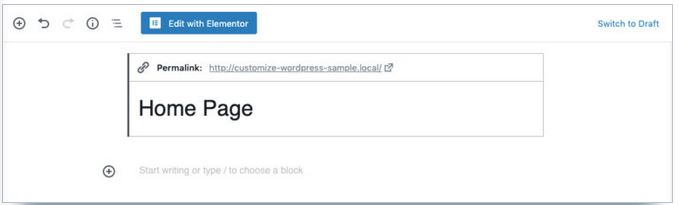 nom page wordpress