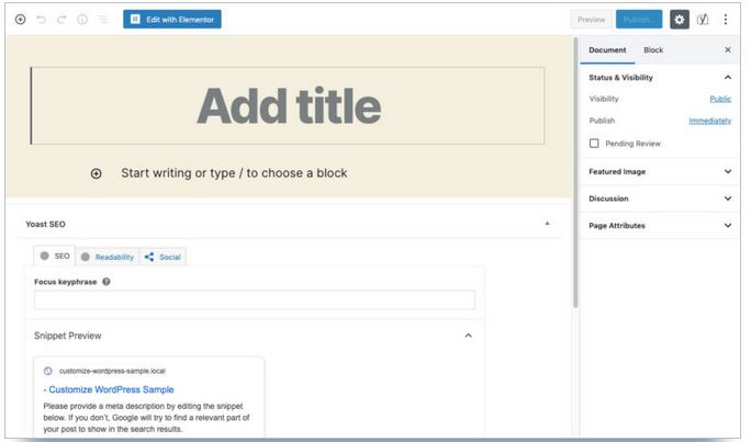 nouvelle page wordpress avec block editor