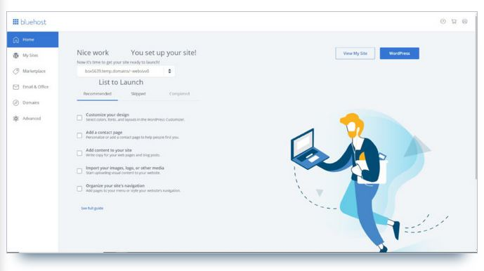 page accueil bluehost