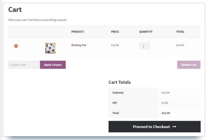 page panier woocommerce storefront