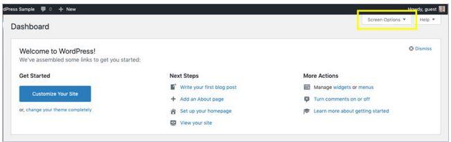 personnaliser option ecran wordpress
