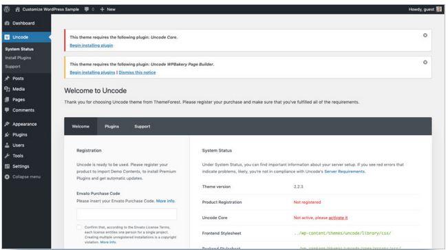 personnaliser paramètres thème uncode wordpress