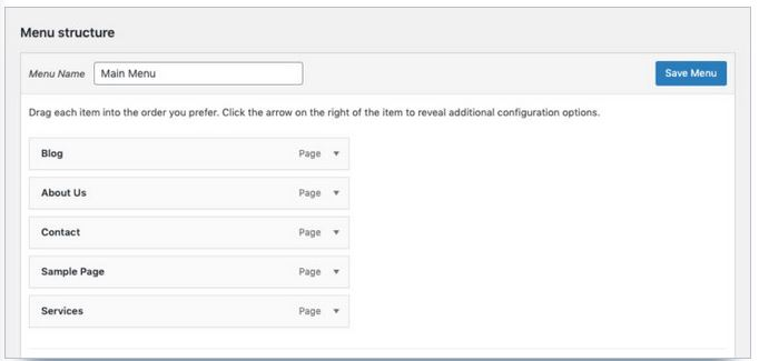personnaliser structure menu wordpress