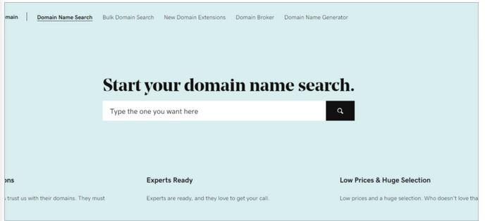 recherche nom de domaine sur godaddy